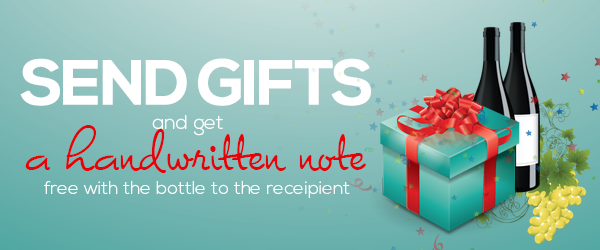Send gifts and get a handwritten note free with the bottle to the recipient