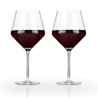 Angled Crystal Burgundy Glasses by Viski