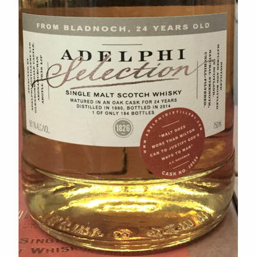 Adelphi Selection Bladnoch 24 Year Old 1990 Single Cask Malt Scotch 750ml