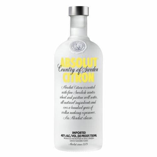 Absolut Citron Swedish Grain Vodka 750ml Rated 90-95 BEST BUY