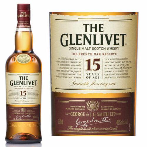 The Glenlivet 15 Year Old French Oak Speyside Single Malt Scotch 750ml Etch Rated 91WE