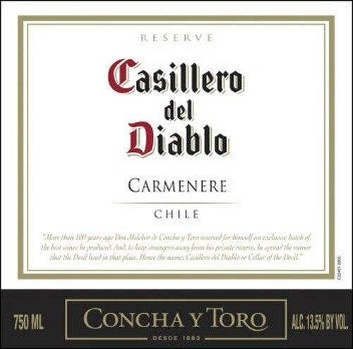12 Bottle Case Concha Y Toro Casillero del Diablo Reserve Carmenere 2019 (Chile)