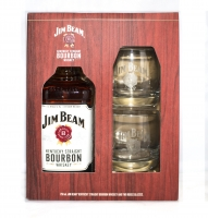 Jim Beam Bourbon Kentucky Gft Pk W/ 2 Rock Glasses 750ml