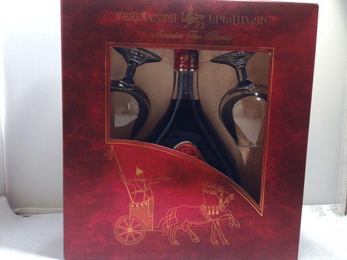 Yerevantsi Brandy Armenian Gft Pk W/ 2 Glasses 10yr 750ml