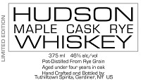 Hudson Rye Whiskey Maple Cask 750ml