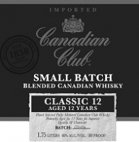 Canadian Club Canadian Whisky Small Batch 12 Year Classic 1L