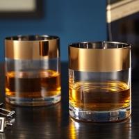 CAVENDISH BRONZE RIM ROCKS GLASSES, SET OF 2